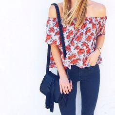 Off-shoulder top & skinny jeans / LivvyLand Instagram Roundup