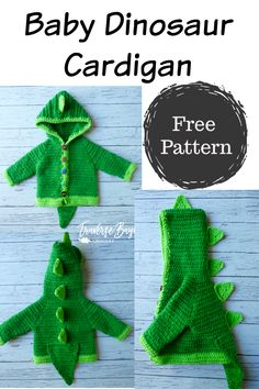 baby crochet Dinosaur Baby Crochet Cardigan - free baby dinosaur sweater pattern, so cute for Halloween! Crochet Dinosaur Patterns, Baby Patterns, Free Baby Crochet Patterns, Crochet Dinosaur Hat, Dinosaur Dinosaur, Dress Patterns, Stitch Patterns, Knitting Patterns, Crochet For Kids
