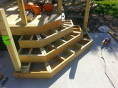 Cascading Deck Stair Construction - Stacking rather than stringing