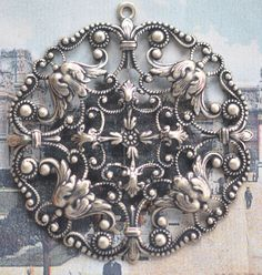 Round filigree pendant, Brass Ox - $3.50 - Handmade Commercial Supplies, Crafts and Unique Gifts by Calliopes Attic #thecraftstar #craftingsupplies #filigreework #medallion #jewelrysupply #victorianera