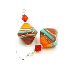 Turquoise Blue Red Orange Earrings Lampwork by BeadzandMore, $31.00