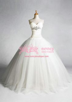 Tulle/Taffeta Sweetheart Ball Gown with Beadings/Rhinestones Fairytale Princess Wedding Dress (WDS010674) $299.99