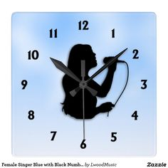 Female Singer Blue with Black Numbers Square Wall Clock 40% off tote bags #zazzle www.leatherwooddesign.com  #sale