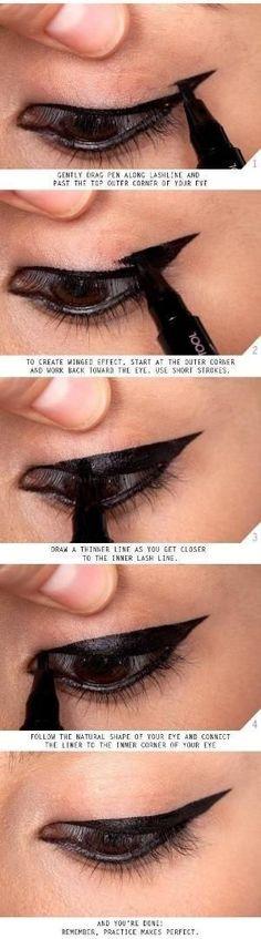 Makeup Tips and Tutorials! Vintage Triple Winged Eyeliner by alicealice #wingedlinerhacks #wingedlinertips