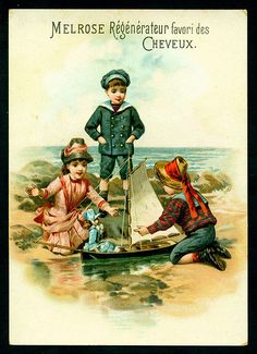 French Tradecard - Children at the Seaside.  Melrose Hair Colourings, c1900.