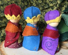 The Three Wise Men, or Magi, are dressed in their colorful robes and cloaks and jewel studded crowns. They are perfect to set out for the holidays in a special place or as part of your nature or seasonal table. These three gnomes are sold as a set. Tradition has it that the three Nativity Stable, Three Wise Men, Nature Table, Cloaks, Stables, Felt Crafts, Wool Felt, Jewel, Third