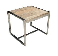 Harris Side Table  Reclaimed Wood and Polished Chrome