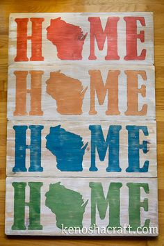 30x11in Wooden Wisconsin HOME Sign many colors by KenoshaCraft