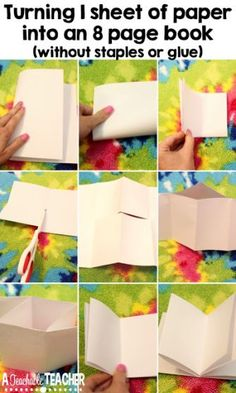 No Prep Paper Book Ideas - Make a Paper Book Tutorial - create a book DIY How to make an 8 side book from a single sheet of paper   classroom tips   creating booklets   teacher crafts for classroom   class craft ideas   teacher planning   school year plan   diy books for kids   teaching ideas Substitute Teacher, Paper Book, Teaching Reading, Kindergarten Reading, Phonics Reading, Elementary Teacher, Teaching Supplies, Teaching Tips, Teaching Phonics