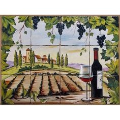 Cameleonia - faianta pictata - decor stil rustic cu sticla de vin - Cameleonia