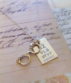 Eye Chart with Glasses Necklace. FREE WORLDWIDE SHIPPING. Sterling silver chain