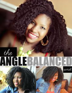 We're super excited to bring you a brand new protective styling option.  THE ANGLE BALANCED UNIT!!!  This unit is cut in an angle balanced layered bob, and features a kinky, curly texture pattern. It is artisan designed, and crafted with coiled tips, and kinky roots that make it super easy to blend with your own natural hair.   The cap is full sized, but constructed in the fashion of a traditional half-wig.  This allows the breathable cap to lie flat, and naturally on your own hair....