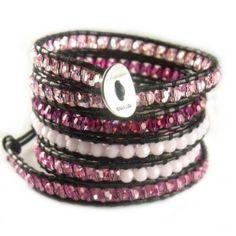 Chan Luu Fuchsia Swarovski Crystal Mix Wrap Bracelet on Black Leather