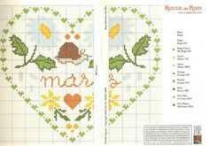 cross stitch hearts of the month birthday 03 of 12 March