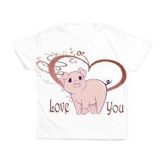 Love You, Cute Piggy Art Kids All Over Print T-Shirt