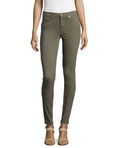 Mid-Rise Skinny Jeans, Fatigue, Size: 32 - 7 For All Mankind
