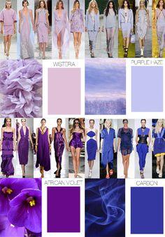 Palette de violets pour tendance Printemps Eté 2015, par TrendCouncil