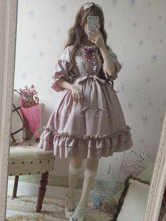 Classic Lolita OP Dress Provence Lavender Ruffle Bow Lace Lolita One Piece Dress Source by misslamolly dress classic Kawaii Fashion, Lolita Fashion, Cute Fashion, Fashion Outfits, Emo Fashion, Gothic Fashion, Rock Fashion, Fashion Shirts, Emo Outfits