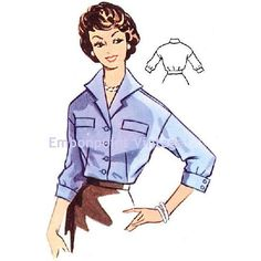 Plus Size (or any size) Vintage 1950s Blouse Pattern - PDF - Pattern No 96 Michelle. $7.80, via Etsy.