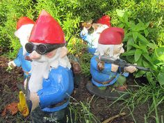"""In 2011, we posted about Combat Garden Gnomes, those awesome gun-toting garden gnome statues hand-sculpted by prop replica artist Shawn Thorsson. Now he's created even more of these """"militarized lawn ornaments"""" and they are available to purchase at his Etsy shop, Thorsson & Associates Workshop."""