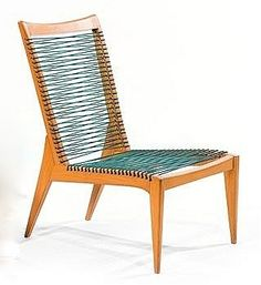 Louis Sognot; Waxed Oak and Cord Lounge Chair, c1950.
