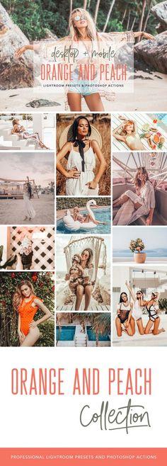 Orange and Peach Lightroom Presets, Photoshop Actions and ACR Presets 2019 - Vsco Filters Lightroom Presets Photoshop For Photographers, Photoshop Photography, Photoshop Actions, Photography Tips, Creative Photography, Portrait Photographers, Fashion Photography, Photoshop Elements, Photoshop Face