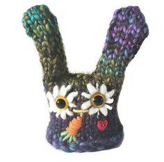 Knitted Bunny Rabbit Amigurumi knit Pin by LittleOwlsandPals