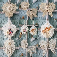 """Vintage doily and lace hearts and Angel wing Christmas ornaments by @littleprairiesparrow on Instagram: """"It's just not Christmas without Angels, heart's, and wing's, so I filled my Etsy shop with them!"""