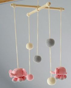 Baby Mobile - Pink Elephants - Crochet Hanging Crib Mobile - Kids room decoration - Perfect gift for baby Crochet Ball, Cute Crochet, Crochet Toys, Mobiles En Crochet, Crochet Mobile, Hanging Crib, Hanging Mobile, Mobiles For Kids, Mobile Kids