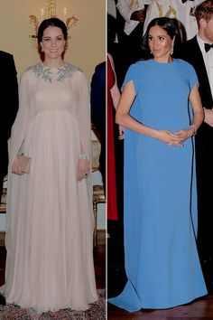 """rachelmarkle: """"""""The Duchess of Cambridge and Duchess of Sussex g l o w i n g while wearing caped gowns during their pregnancies this year """" """" Winter Maternity Outfits, Pregnancy Outfits, Maternity Fashion, Maternity Dresses, Duke And Duchess, Duchess Of Cambridge, Meghan Markle Outfits, Prinz Charles, Princesa Kate Middleton"""