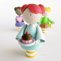 Semi-custom girl figurine, quilled paper art doll. Choose your colors and item! by runnerbean on Etsy https://www.etsy.com/listing/230246447/semi-custom-girl-figurine-quilled-paper