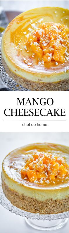 moist and rich easy mango cheesecake with fresh mangoes and sour cream and baking technique to bake extra lite cake Great Desserts, Delicious Desserts, Yummy Treats, Sweet Treats, Baking Recipes, Cake Recipes, Dessert Recipes, Mango Cheesecake, Mango Mousse Cake