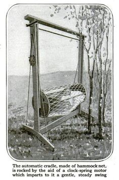 """Self-Operated Cradle, September 1917. """"Sheldon D. Vanderburgh, an inventor from Hastings-on-Hudson, New York, built a basket-like bed by fastening netting to round end pieces. After hooking the basket onto a wooden frame, Vanderburgh realized that his swinging cradle would be far more effective if it could rock itself. He assembled a clock-spring motor that could rotate a crank arm attached to the shaft, and behold: a self-operated hammock."""""""