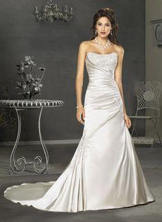 Wedding Dresses - $188.49 - Sexy A-Line/Princess Sweetheart Chapel Train Satin Wedding Dress with Ruffle  Lace  Beadwork (002000452) jjshouse.com