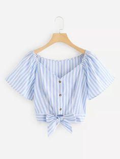 V Neckline Knot Hem Striped Top -SheIn(Sheinside) Teen Fashion Outfits, Cute Fashion, Girl Outfits, Summer Outfits, Fashion Dresses, Womens Fashion, Fashion Fashion, Cute Casual Outfits, Stylish Outfits