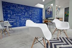 We designed this room with white washed floors, emes chairs, and a beautiful blue chalkboard wall with science formulas all over it.