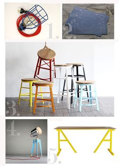 Industrial Homewares and Furniture 1. Empirical Cage Pendant Lamps by Empirical Style 2. Cake kitchen Paper placemats – Blueprint by West Elm 3. Scaffold Stools by Walk The Plank Collective 4. Frank Lamp by Oliver Hrubiak Design 5. Feast in the House of Simon Table by Fifty Two Thousand