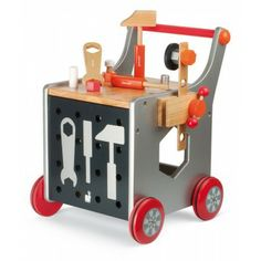 Just the thing for your junior home renovator. This tool kit trolley from Janod is super stylish and comes with 25 building accessories, three magnetic tools, a vice; and the pushalong trolley it all stories in. The trolley has a clever magnetic board Toddler Toys, Baby Toys, Kids Toys, 4 Kids, Preschool Toys, Christmas Gifts For Kids, Toddler Christmas, Little Doll, Baby Kind