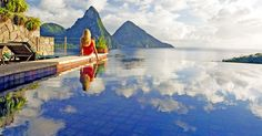 Your 4th wall is open to the views, but the room is still completely private... Need a vacation!   Jade Mountain, St Lucia