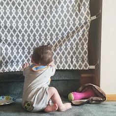 Fabric Baby & Pet Gate- Hooks Directly to Staircase Wall Fabric Baby Gates, Baby Gate For Stairs, Etsy Fabric, Pet Gate, Front Steps, Home Decor Fabric, Photo Displays, Fabric Panels