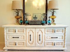 Dresser/Buffet/Media Console in Antique Cream  Lightly Distressed   Original hardware  SOLD