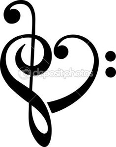 Music Heart, Bass & Treble Clef — Vector stock © lavalova #33061169