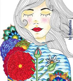 My Makadamia is full of color and the flowers do not stop growing for her body :)  #illustration #girlillustration #flowers #ilustraciones