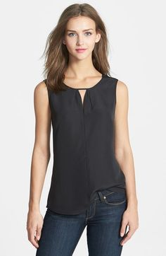 NIC+ZOE Keyhole Top (Regular & Petite) | Nordstrom / A keyhole neckline detailed with soft pleating brings face-framing elegance to a versatile sleeveless top cut from soft crepe.