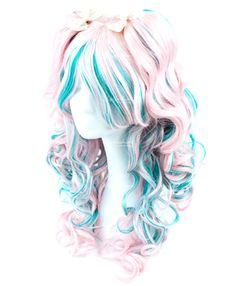 Cream Pink Cyan highlight Long Wavy - New Site Kawaii Hairstyles, Pretty Hairstyles, Wig Hairstyles, Cosplay Kawaii, Lolita Cosplay, Kawaii Wigs, Looks Kawaii, Pelo Anime, Lolita Hair