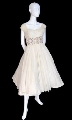 Ceil Chapman 1950s silk ivory chiffon party dress with lace and rhinestones