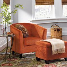 Great Orange Accent Chair U0026 Ottoman