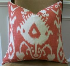 it's a perfect blend of paige & Downey. you should find this for your settee! Pillow Cover Design, 20x20 Pillow Covers, Coral Pillows, Throw Pillows, Textile Prints, Textiles, Coral Background, House Accessories, Ikat Print