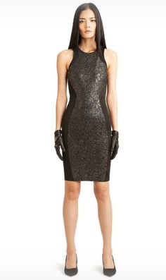 Jessie - A Fashion Boutique - Torn by Ronny Kobo Shiran Lace Scuba Dress - Gold/Black, $361.00 (http://www.jessieboutique.com/products/torn-by-ronny-kobo-shiran-lace-scuba-dress-gold-black.html)