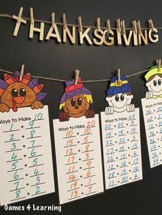 Thanksgiving Math Friends by Games 4 Learning for fun Thanksgiving math. Fun Math, Math Games, Math Activities, First Grade Math, Second Grade, Maths Display, Thanksgiving Math, Math Strategies, Student Teaching